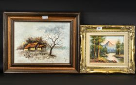 Pair of Oil Paintings comprising a painting of a mountain and woodland scene, framed in a gilt