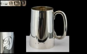 George V Sterling Silver Tankard of Plain Form with Capital C Shaped Handle.