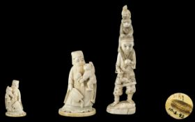 Two Japanese Meiji Period Carved Ivory Figures,