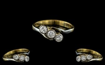 18ct Gold - Attractive 3 Stone Diamond Set Ring. The Three Pave Set Diamonds of Excellent Colour and