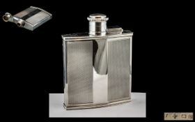 Art Deco Period Excellent Quality Sterling Silver Pocket Size Hip Flask with Engine Turned