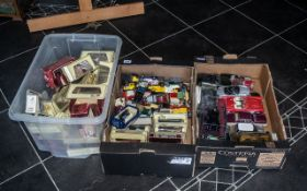 Two Boxes of Diecast Model Cars, Buses and Trucks, comprising Matchbox boxed Rolls Royce, Packard
