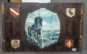 Three Decorative Oil Paintings on Panels, dated 1936,