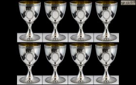 Elizabeth II - Superb Quality Ollivant and Botsford Sterling Silver Set of Eight Goblets,