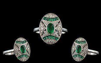 Art Deco Style - Attractive 18ct White Gold Emerald and Diamond Set Dress Ring. Marked 750 to