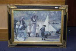 Two Gilt Framed Prints, one depicting a Paris park scene with children, measures 37'' x 27'', and