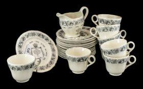 Royal Cauldon Passover Ware Black Litho, circa 1950's, 25 piece tea set, 8 x cups, saucers,