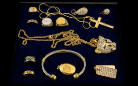 Collection of Assorted Gold Plated Jewellery, Includes Rings, Bangle and Pedant Drops,