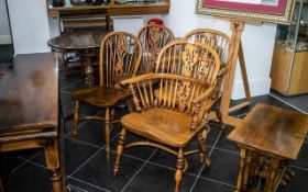 Set of Six Modern Kitchen Chairs, two Windsor and six spindle back chairs.