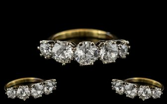 18ct Gold and Platinum - Superb Quality 5 Stone Diamond Set Ring. All Five Diamonds of Top Colour