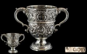 Victorian Period Heavy & Excellent Quality Sterling Silver Twin Handled Loving Cup,