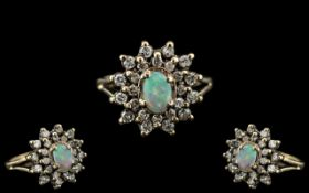 Ladies - Attractive 9ct Gold Opal and Diamond Set Dress Ring, Flower head Setting, Full Hallmark for