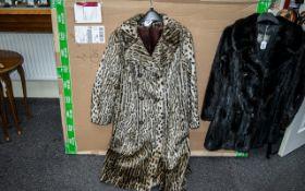 Ladies Leopard Print Full Length Fur Coat, by Astraka of London,