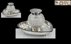 A Victorian Period Cut Glass and Silver Topped Inkwell - Mounted on a Heart Shaped Footed Stand of