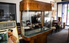 Large Art Deco Fish Tank Shop Display Cabinet, of unusual form, with shaped sides, supported by a