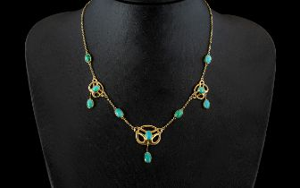 Liberty Type Antique 15ct Gold Art Nouveau Turquoise Clad Necklace in the Celtic Revival style