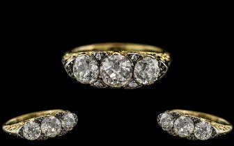 Antique Period - Stunning 18ct Gold Gallery Set 3 Stone Diamond Ring. The Semi - Cushion Cut