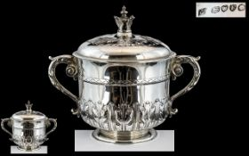 Victorian Period - Queen Anne Style Superb Quality and Large Sterling Silver Lidded Porringer Cup