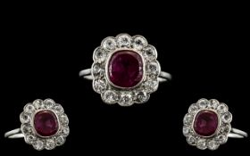 Antique Period - Attractive 18ct White Gold Ruby and Diamond Set Cluster Ring,