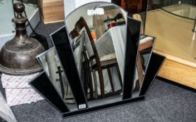 Art Deco Style Fan Shaped Mirror with a broken arch top with fitted black segments;