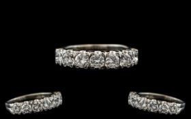 Ladies 18ct White Gold Stunning Diamond Set Half - Eternity Ring, Full Hallmark to Interior of Ring.