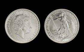 A Britannia Silver One Onz £2 Coin fine purity 999.