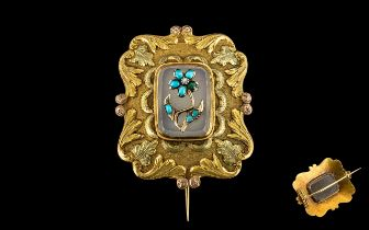 Antique Period 15ct Gold - Stunning and Exquisite Brooch. The Centre Panel with Turquoise and