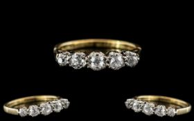 Ladies 18ct Gold - Attractive 5 Stone Diamond Set Ring - Gallery Setting.