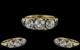 Antique Period - Stunning 18ct Gold Gallery Set 3 Stone Diamond Ring.