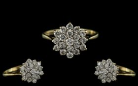 Ladies 9ct Gold Attractive Diamond Set Cluster Ring - Flower head Setting. Full Hallmark for 9.375.