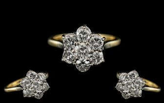 18ct Gold - Attractive Top Quality Diamond Set Ring, Flower head Setting. All Diamonds of Top Colour
