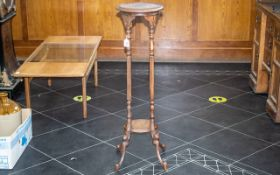 """Reproduction Hardwood Pot Stand, raised on four carved legs with splayed feet, measures 39"""" tall,"""