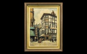 Original Oil on Board of a Late 19th Century Manchester Street Scene. Lovely Quality Throughout,