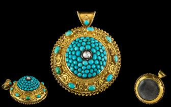 Antique Period - Attractive and Stunning 15ct Gold - Etruscan Revival Large Turquoise and Diamond