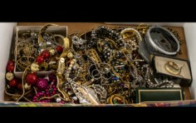 Box of Loose Costume Jewellery, comprising chains, pendants, bracelets, bangles, some stone set,