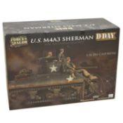 Forces of Valor 1:16 die-cast model; U.S. M4A3 Sherman tank