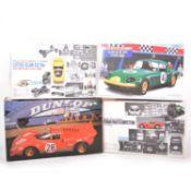 Four Gunze Sangyo and Protar 1:24 scale model kits including Lotus Elan S3 and Ferrari 250GTO etc