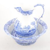 A large Spode 'Italian' pattern blue and white jug and bowl.