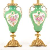 Pair of French porcelain gilt metal mounted lamp bases.