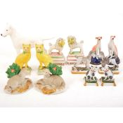 Selection of Staffordshire dogs and other animal figures