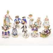 A collection of Continental porcelain figures, including Sitzendorf