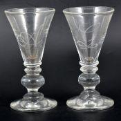 Pair of 20th Century wine glasses.