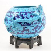 A Worcester Chinese inspired dragon bowl and stand