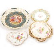 A selection of plates, including Dresden and Limoges