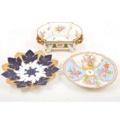 Two Meissen cabinet plates and a Continental centre bowl