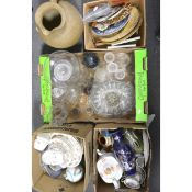 Five boxes of assorted household ceramics and glass
