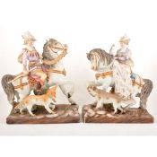 An impressive large pair of Continental hand-painted porcelain hunting groups