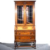 An oak bureau bookcase.