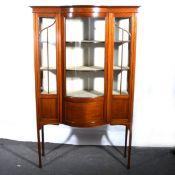 An Edwardian inlaid mahogany display cabinet.