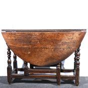 A joined oak gateleg table.